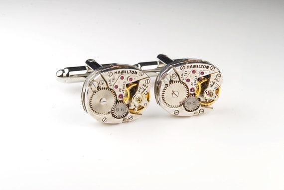 Steampunk Cufflinks Vintage Hamilton Watch Movement Mens Gear Cuff Links by Steampunk Vintage Design