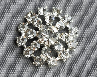 5 Rhinestone Buttons Round Circle Two Row Silver Diamante Crystal Hair Flower Clip Wedding Invitation Scrapbooking Pillow BT037