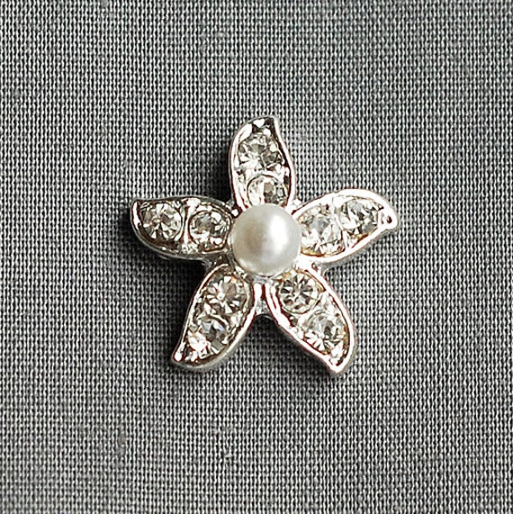 10 Rhinestone Buttons Crystal Pearl Starfish Beach Wedding Brooch Bouquet Invitation Cake Bridal Hair Comb Shoe Clip BT007