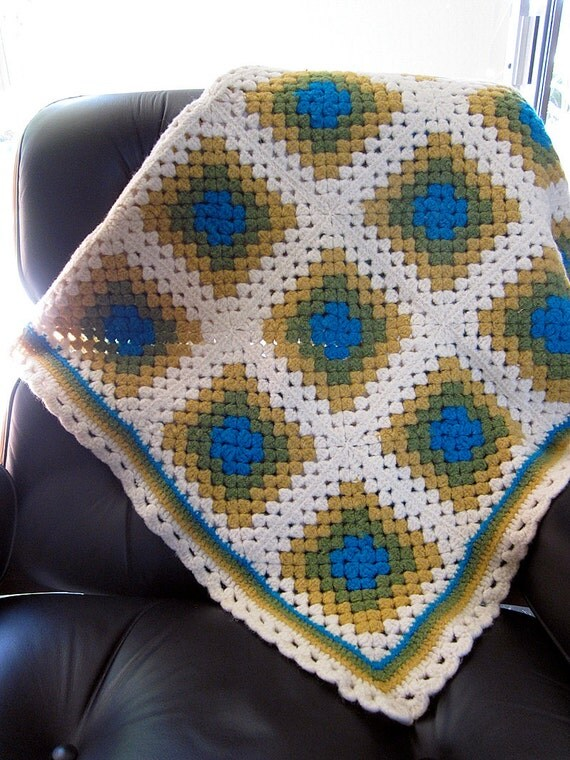 Vintage Crocheted Granny Square Throw in Shades of Cream, Mustard, Olive, and Blue
