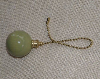 Sage Green Pottery/ Ceramic Large Ball Ceiling Fan/Light Pull - Handmade in the USA - Brass or Nickel Hardware