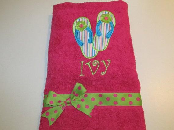 Girls, Little Girls Bath, Beach, or Pool towel with Flip Flop Applique and Monogram, Polka Dot Ribbon