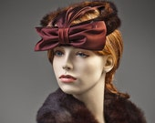 50s era Mink and Satin Cocktail Hat