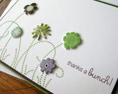 Thanks a bunch with Puffy Flowers and Swirly Grass - handmade greeting card