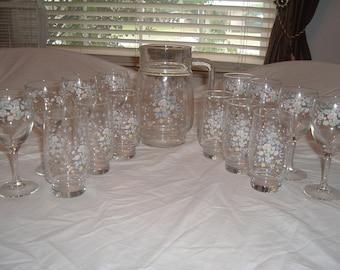 vintage pitcher goblet and glass set with  flora design