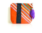 Rick Rack Pouch - SPICY RED - Zippered - Handmade in USA