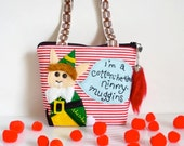 Bunny Purse - Buddy the Elf - Christmas - I'm A Cotton Headed Ninny Muggins - Zippered with Handles - OOAK