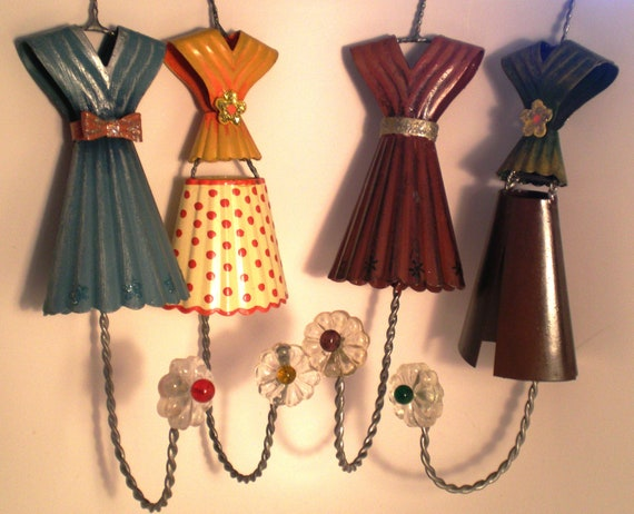 Vintage Metal Dresses Wall Hooks Hand Painted Glass Flower Knob 70s 80s 4 at 22.00 dollars each