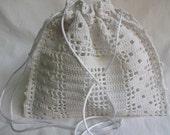 Brides drawstring wristlet Wedding pouch Vintage white lace doily remake Victorian reticule
