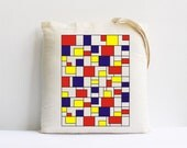 red blue yellow squares geometric decor eco friendly canvas tote bag christmas gift holiday decor shopping bag farmers market bag