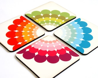 Drink Coasters, Wood coasters, Wooden coaster, Colorful Rainbow Polka dots Modern Geomertic Kitchen coasters,  set of four drink coasters