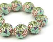 Polymer Clay Beads, Rondelles, Mint and Yellow, Handmade Round Beads, Millefiori Kaleidoscope Beads