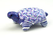 Polymer Clay Sculpture, Turtle with Flowers, Stripes, Spirals, Millefiori, Polymer Clay Art, Blue and Lavender