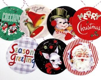 Vintage Christmas Banner -vintage Christmas Greeting Cards Garland - retro Christmas - Photo Reproductions on Felt