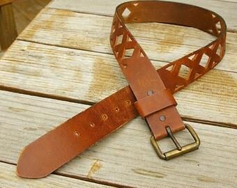 Leather Belt, Men's Vintage Belt 1970s Size 32 - Unisex Belt