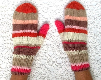 Mittens Pink Orange Brown Beige Fuchsia Hand Knit Women Ladies Teens