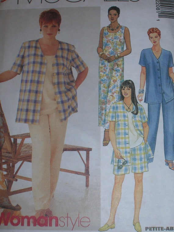 UNCUT, McCall's 2208, Easy Sew, Womens Plus size 18w-20w-22w, bust 36-38-40, Dress, Shirt, top, Pants or Shorts