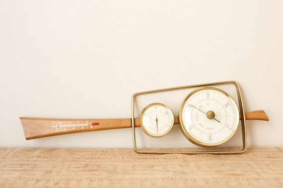 RESERVED for Kelly- Mid Century Modern Airguide 'Banjo' Weather Station/Barometer