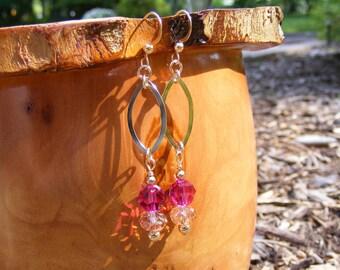 Pink Swarovski 14 kgf Earrings