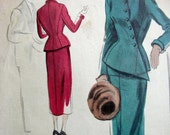 Vintage 40's Vogue Pattern No. 515 Couturier Design Suit with Nipped Waist & Asymmetrical Closure - FF w/Label -