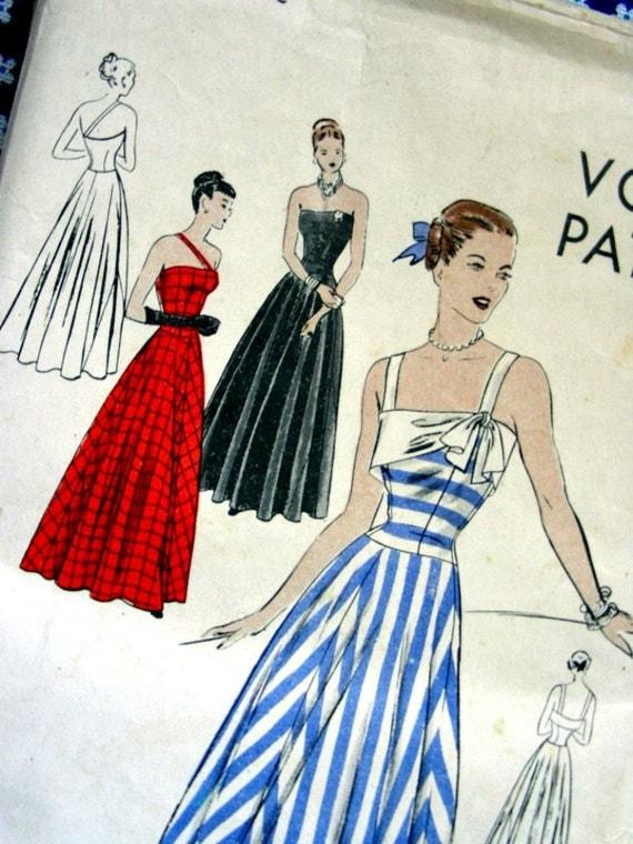 Vintage 40's VOGUE Dress Pattern 5811 - GORGEOUS Strapless Evening Dress Optional Straps - UNCUT - size 16/34