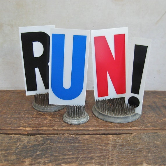 run exclamation point vintage sign letters, marathon, running, exercise, vintage banner,