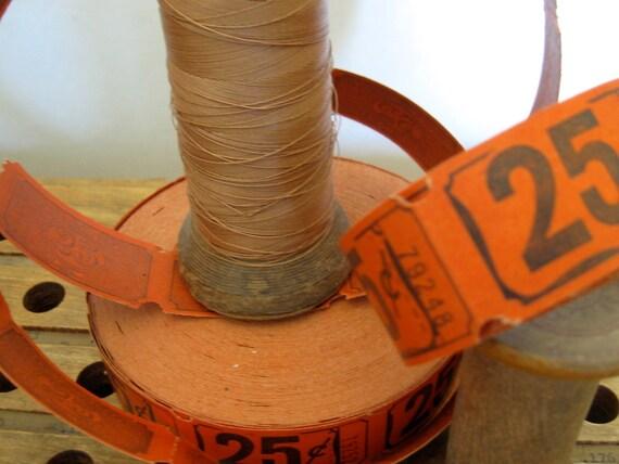 vintage tickets orange and black halloween  25 cents, carnival tickets, old tickets, vintage halloween supplies,