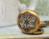 VINTAGE SCENT LOCKET 70s antiqued brass scent locket necklace with bee charm and topaz Swarovski glass jewel