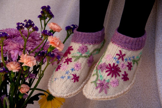 womens pure wool flowery upcycled slippers
