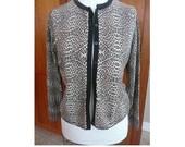 Vintage Silk and Cashmere Cartigan Leopard Print