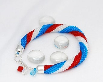 Red Blue White Crocheted Bracelet