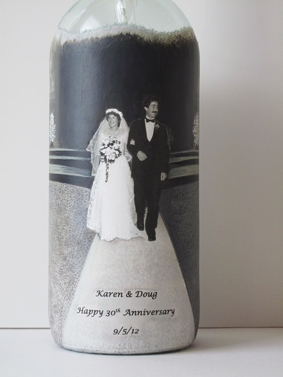 ... Gift, Hand Painted Wine Bottle Candle With Your Photo, Wedding Gift