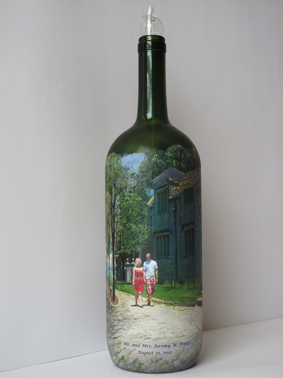 Personalized custom order hand painted wine bottle candle with for Hand painted bottles