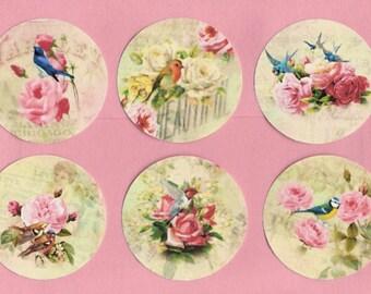 Shabby Cottage Style Sticker Seals 18 pcs Roses & Birds