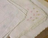 Vintage 1950s White Bridal Handkerchiefs Set of three