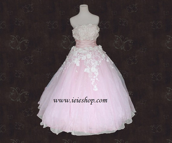 Vintage Retro Strapless Pink Prom Formal Dress with Floral Lace Applique Size 10 Ready to ship