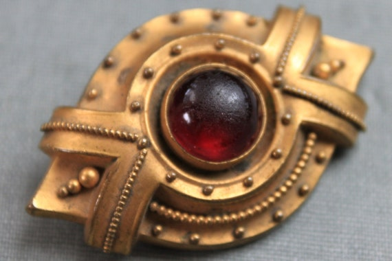 Victorian Etruscan Jeweled Brooch