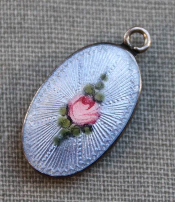 Art Nouveau Guilloche Enamel Rose Pendant / Double Sided
