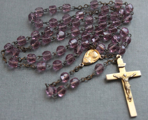 Antique Purple Glass Rosary / Repair or Parts