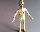 One of a Kind Doll - Stories Collection - Tiny Figurative Fabric Sculpture - OOAK- Big Feet