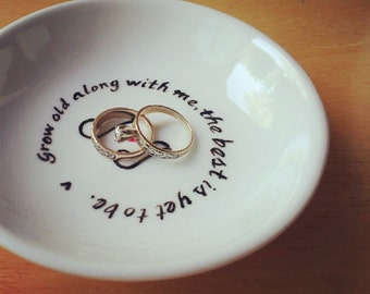 CUSTOM - Hand Painted Ring Dish -Your Favorite Quote - Nautical Wedding