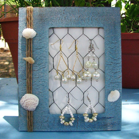 SALE DESTASH Sea Shell Blue Jewelry Display Beach Summer Earring Holder Bedroom Decor Table Top Hanging Storage Organize