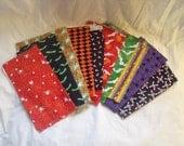 SALE set of 10 Halloween print fabric quarters