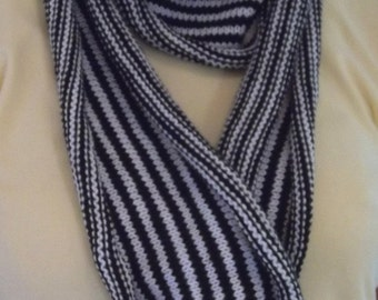 Knitted Long Scarf in Black & White