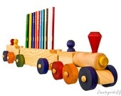 Pencil Holder - Wooden Train Pencil Holder 3 Car - Handcrafted Natural Organic Wooden Pencil Holder - Wooden Train Pencil Holder 12 Pencils