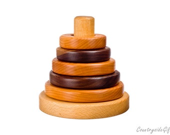 Stacker Blocks - Hardwood Round Stacker Toy - Natural for Baby Babies Toddler Children Educational and Development Toy