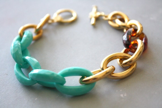 LAST ONE -Arm Candy - mint tortoise shell and gold link bracelet - gifts for her under 15