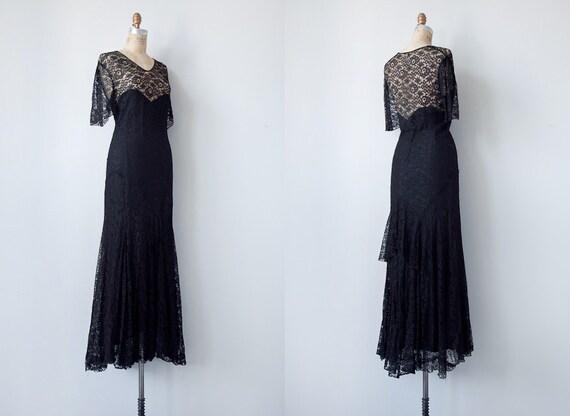 vintage 1930s dress / vintage 1930s black lace gown / vintage 30s formal party black dress
