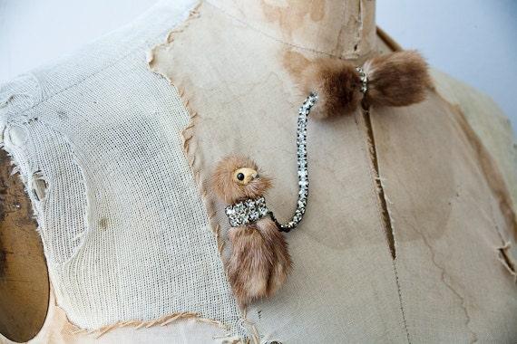 vintage 1950s brooch / mink brooch / vintage 50s sweater brooch