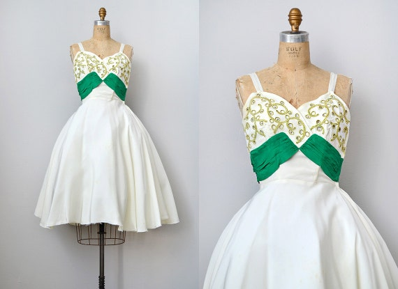 vintage 1950s silk party dress with sash